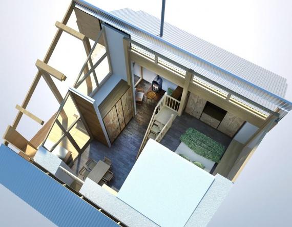 Двух и трех модульный компактный домик из соломенных панелей