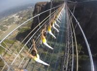 Группа из более чем ста девушек провела фотосессию во время занятия йогой на стеклянном мосту