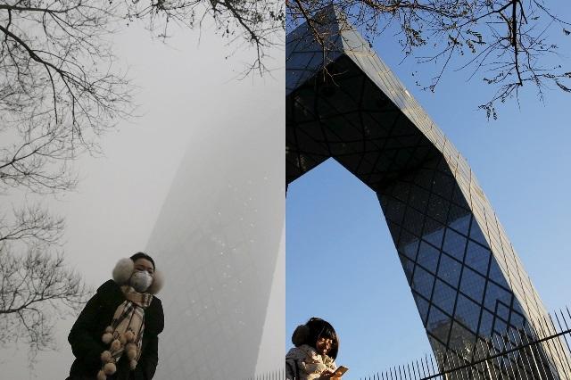 Smog-ul învăluie din nou capitala Chinei. Pentru prima dată – cod roşu de poluare. FOTO before&after;