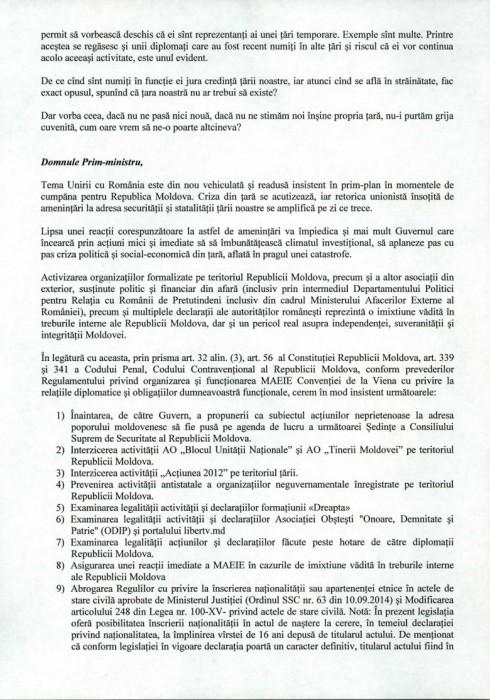 Scrisoare deschisă Domnului Pavel Filip,  Prim-ministru al Republicii Moldova