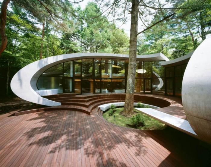 Дом-раковина располагается далеко в лесах Каруидзавы, спроектированн архитектурной фирмой «Artechnic», просто великолепен (+Фото)