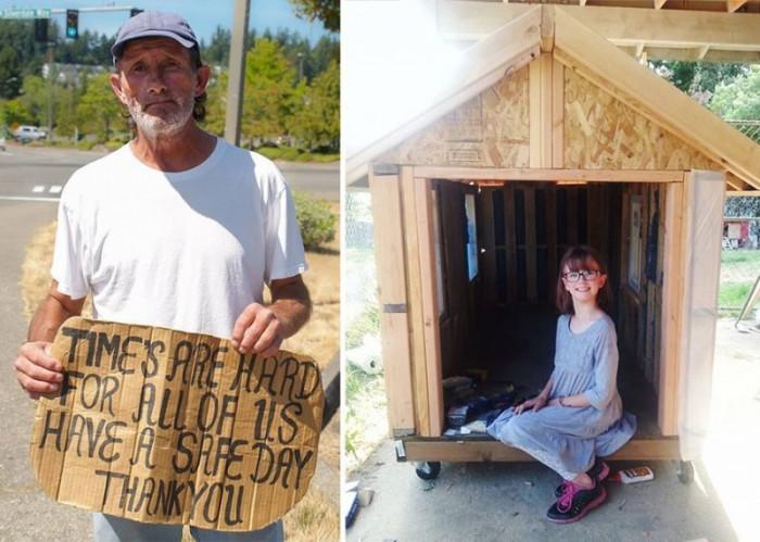 Маленькая девочка решила помогать бездомным и построить для них приюты (+Фото)