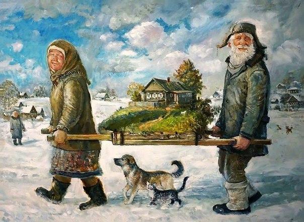 Герои картин художника Леонида Баранова - Дед и Баба (Фото)
