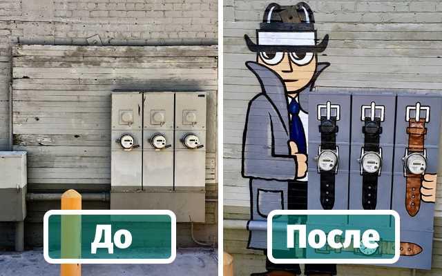 Уличный художник Том Боб украшает городские элементы (Видео)