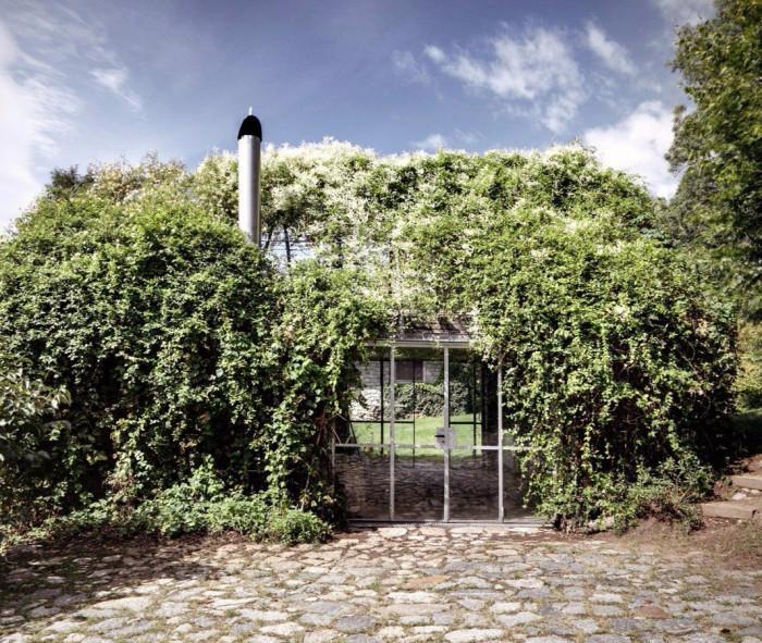 The Green box - проект перевоплощения заброшенного гаража в дачный домик в Ретийских Альпах, Италия (+Фото)